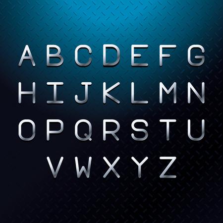 Silver font letters alphabet blue vector illustration graphic design