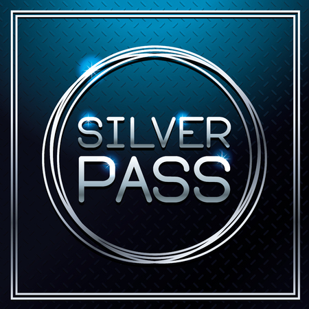 Silver pass card blue background vector illustration graphic design