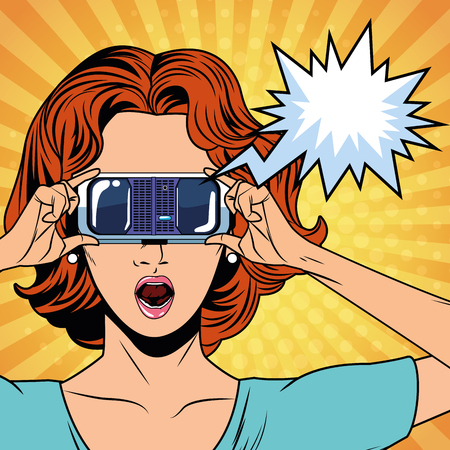 Pop art woman with virtual reality glasses technology vector illustration graphic design