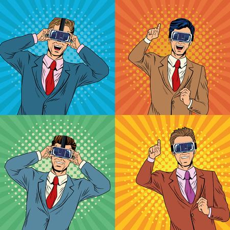 Businessmen virtual reality pop art cartoon in frames vector illustration graphic design