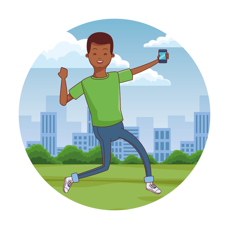 young man using smartphone at city park scenery at city park scenery vector illustration graphic design Stock Illustratie
