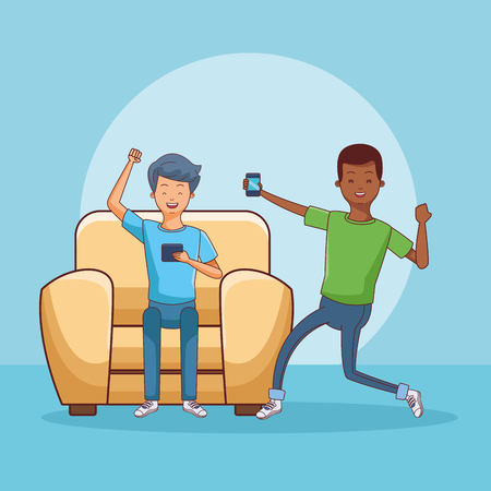 teenagers using smartphone seated on sofa blue background vector illustration graphic design Ilustrace
