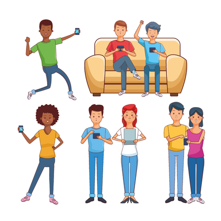 teenagers having fun with smartphone and tablet technology vector illustration graphic design