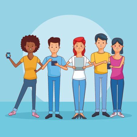 teenagers using smartphones and tablets over blue background vector illustration graphic design