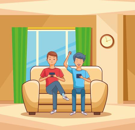 teenagers using smartphone seated on sofa inside room vector illustration graphic design