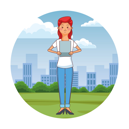 teen woman using tablet at city park scenery at city park scenery vector illustration graphic design