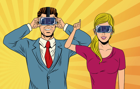 pop art couple using virtual reality glasses over striped yellow background vector illustration graphic design