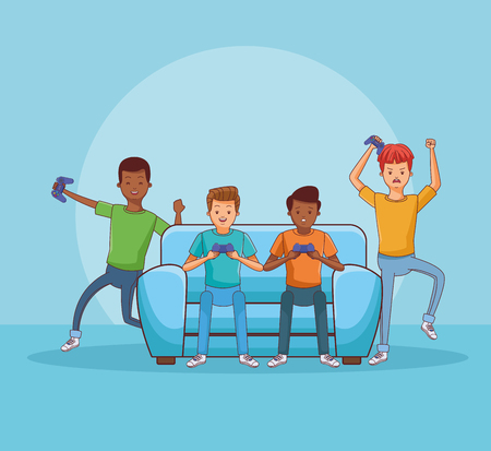 Teenagers playing videogames seated on sofa cartoons vector illustration graphic design vector illustration graphic design