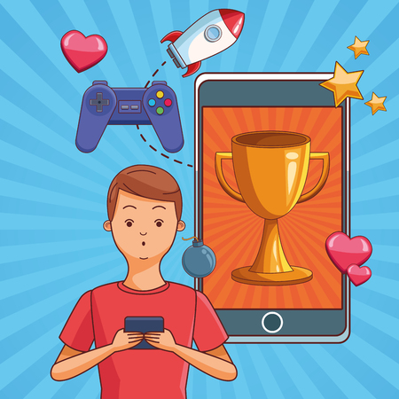 Teenagers man playing smartphone games cartoons vector illustration graphic design