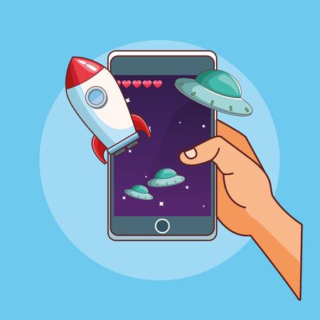 Smartphone games hands playing cartoons vector illustration graphic design Illustration