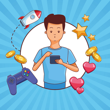 Teenagers man and smartphone games vector illustration graphic design