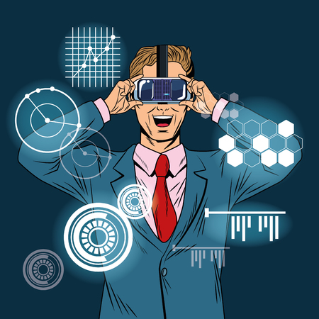 Businessman virtual reality pop art cartoon vector illustration graphic design Stock Illustratie