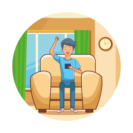 young man using smartphone at room vector illustration graphic design
