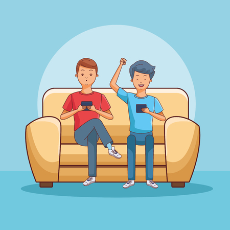 teenagers using smartphone seated on sofa blue background vector illustration graphic design Illustration