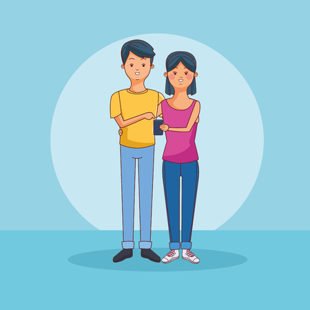Teenagers using smartphone technology vector illustration graphic design