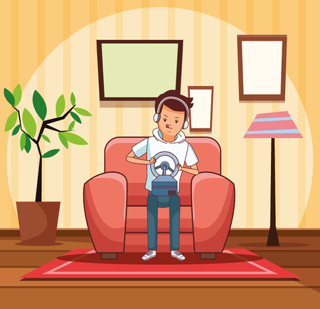 teenager man playing videogames in room cartoons vector illustration graphic design vector illustration graphic design Stockfoto - 124814594