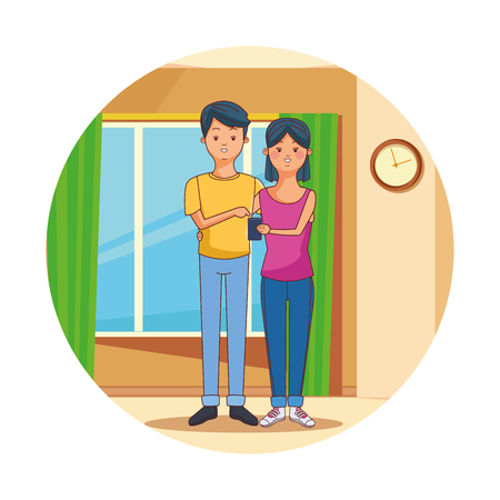 Teenagers using smartphone technology inside room vector illustration graphic design