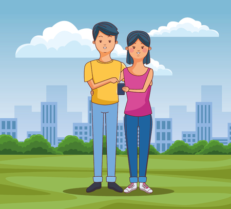 Teenagers using smartphone technology at city park scenery vector illustration graphic design
