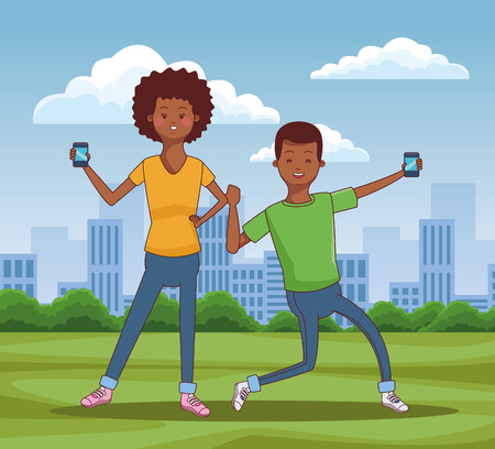 Teenagers using smartphones technology at city park scenery vector illustration graphic design