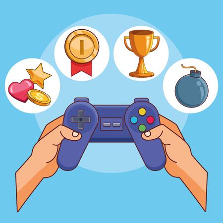 hands using videogames gamepad cartoon vector illustration graphic design
