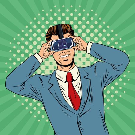 Businessman virtual reality pop art cartoon striped colorful background vector illustration graphic design