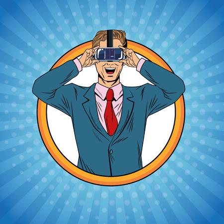 Businessman virtual reality pop art cartoon vector illustration graphic design Ilustração