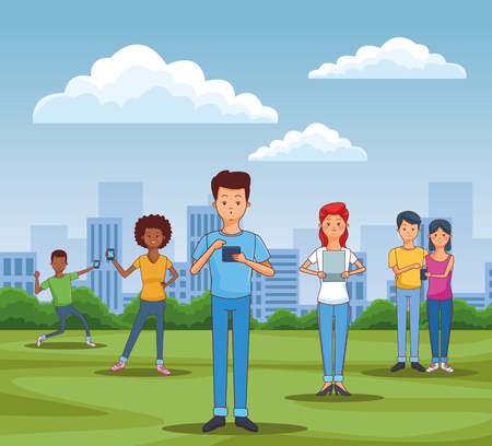 teenagers using smartphones and tablets in the park vector illustration graphic design