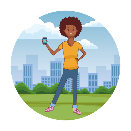 teen woman using smartphone at city park scenery at city park scenery vector illustration graphic design Ilustrace