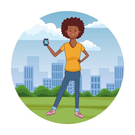 teen woman using smartphone at city park scenery at city park scenery vector illustration graphic design Stock Illustratie