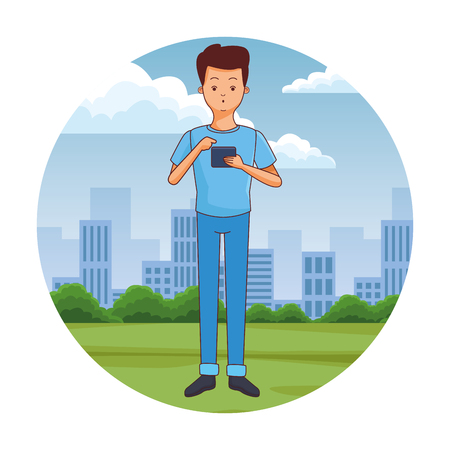 young man using smartphone at city park scenery at city park scenery vector illustration graphic design Illustration