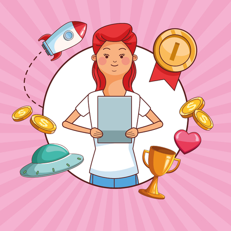 Teenagers woman and tablet games cartoons vector illustration graphic design