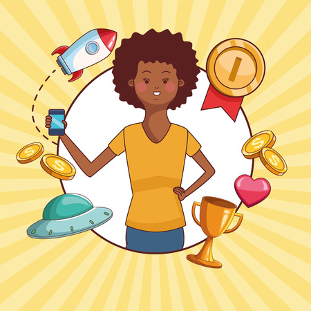 Teenagers afro woman and smartphone games vector illustration graphic design