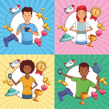 Teenagers and smartphone games cartoons frames vector illustration graphic design