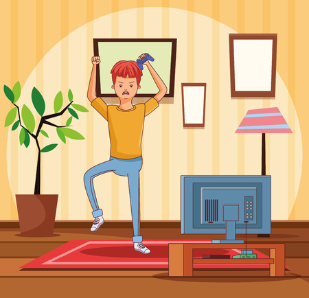 teenager man playing videogames in room cartoons vector illustration graphic design vector illustration graphic design