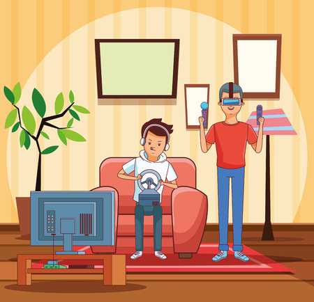 Teenagers playing videogames inside room cartoons vector illustration graphic design vector illustration graphic design