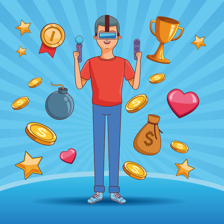 teenager man playing videogames over blue background cartoons vector illustration graphic design vector illustration graphic design
