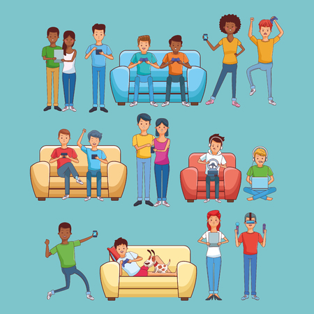 Teenagers playing videogames seated on sofa collection cartoons vector illustration graphic design vector illustration graphic design Ilustrace
