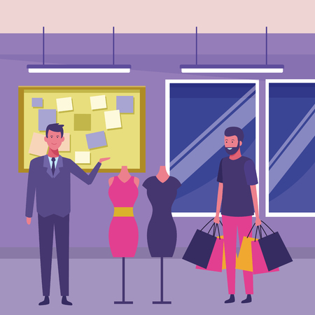 man shopping woman dress and mall guy advising inside building interior scenery vector illustration graphic design