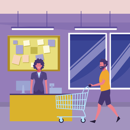 supermarket cashier and man pushing shopping cart inside building interior scenery vector illustration graphic design