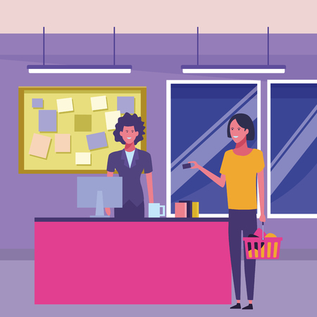 supermarket cashier and customers with shopping bags inside building interior scenery vector illustration graphic design