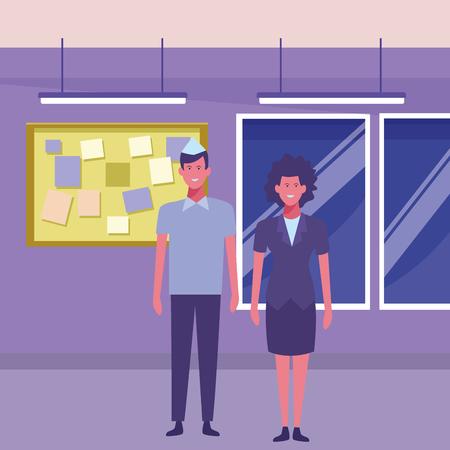 supermarket cashier and manager cartoon inside building interior scenery vector illustration graphic design