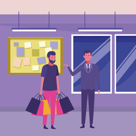 man with shopping bags and supermarket manager inside building interior scenery vector illustration graphic design Illustration