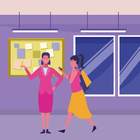 woman walking with shopping bags and businesswoman smiling inside building interior scenery vector illustration graphic design