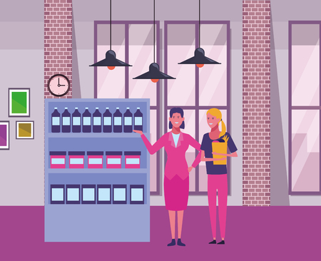 businesswoman and woman with supermarket shelf inside office building scenery inside office building scenery vector illustration graphic design Illustration