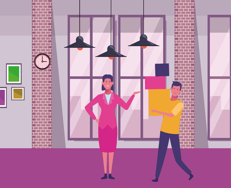 businesswoman and man holding boxes inside office building scenery inside office building scenery vector illustration graphic design