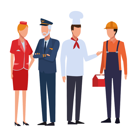 Jobs and professions pilot steward chef and construction worker avatar vector illustration graphic design