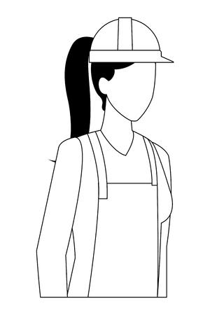 construction woman worker proffesional worker avatar profile vector illustration graphic design Çizim