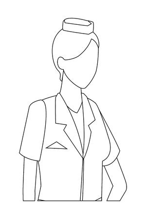 steward woman proffesional worker avatar profile vector illustration graphic design Çizim