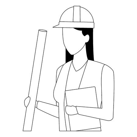Architect proffesional worker avatar profile vector illustration graphic design