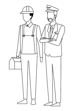 Jobs and professions couple of workers faceless avatars vector illustration graphic design